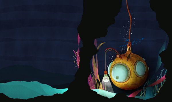 Batiscafo en el mar